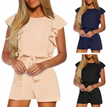 Fashion Solid Color Lotus Sleeve Round Neck High Waist Romper
