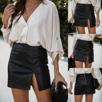 Sexy Slit Hem High Waist Slim Fit PU Leather Skirt