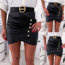 Fashion High Waist Front-button PU Leather Skirt(Without belt)