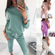 Fashion Sequin Spliced Long Sleeve Sweatshirt + Pants Two-piece Set
