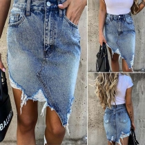 Fashion High Waist Irregular Frayed Hem Denim Skirt
