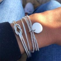 Fashion Silver-tone Twisted Beaded Bracelet Set 3 pcs/Set