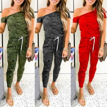 Sexy Oblique Shoulder Short Sleeve Camouflage Printed Jumpsuit