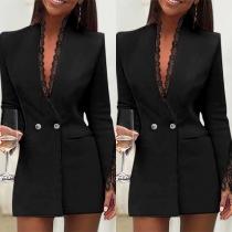 OL Style Long Sleeve V-neck Lace Spliced Blazer Coat