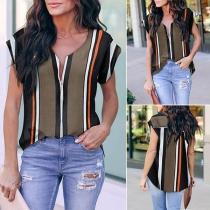 Fashion Short Sleeve V-neck Striped Blouse