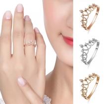 Fashion Rhinestone Inlaid Crown Shaped Ring