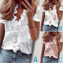 Fresh Style Short Sleeve V-neck Ruffle Printed Blouse