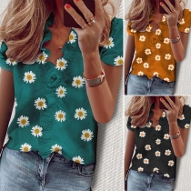 Fashion Short Sleeve V-neck Daisy printed Ruffle Blouse