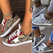 Sports Style Flat Heel Lace-up Serpentine Printed Sneakers