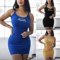 Fashion Letters Printed Slim Fit Tank Dress