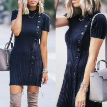 Fashion Solid Color Short Sleeve Side-button Slim Fit Knit Dress