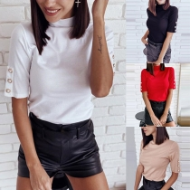 Fashion Solid Color Short Sleeve Mock Neck T-shirt