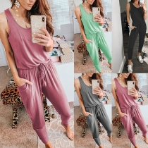 Fashion Solid Color Sleeveless Round Neck High Waist Jumpsuit