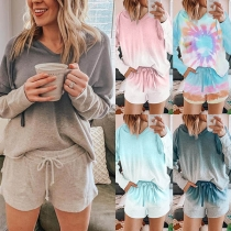 Fashion Color gradient Long Sleeve Hooded Top + Shorts Two-piece Set