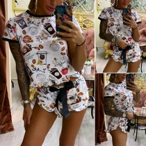 Fashion Short Sleeve Round Neck Printed Top + Shorts Two-piece Set