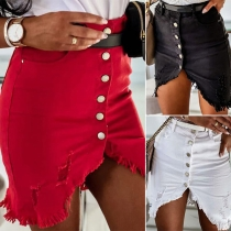 Fashion High Waist Slit Hem Slim Fit Ripped Denim Skirt