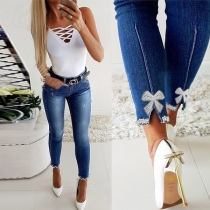 Fashion Beaded Bow-knot Spliced High Waist Slim Fit Jeans
