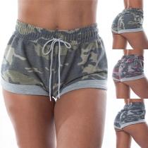 Fashion Elastic Waist Camouflage Printed Sports Shorts