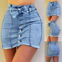 Fashion High Waist Slim Fit Frayed Hem Single-breasted Denim Dress