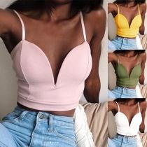 Sexy Backless Deep V-neck Solid Color Sling Crop Top