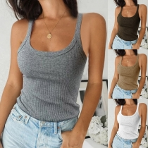 Sexy Backless U-neck Solid Color Slim Fit Tank Top
