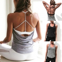 Sexy Backless Solid Color Sports Halter Tank Top