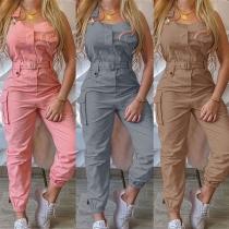 Fashion Solid Color High Waist Side-pocket Overalls