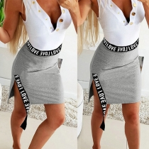 Fashion Letters Printed Spliced High Waist Slit Hem Skirt