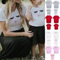 Cute Eyelash Printed Short Sleeve Round Neck Parent-child T-shirt