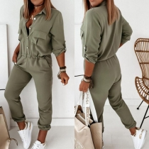 Fashion Solid Color Long Sleeve POLO Collar High Waist Jumpsuit