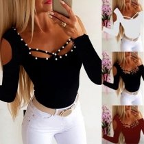 Sexy Off-shoulder Long Sleeve Square Collar Beaded T-shirt