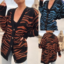 Fashion Long Sleeve V-neck Zebra-stripe Printed Knit Cardigan