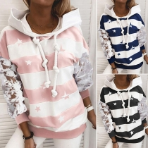 Fashion Lace Spliced Long Sleeve Thin Hooded Striped Sweatshirt