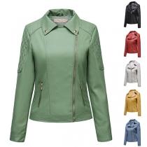 Fashion Solid Color Long Sleeve Oblique Zipper PU Leather Jacket