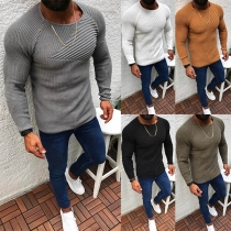 Simple Style Long Sleeve Round Neck Solid Color Man's Knit Top