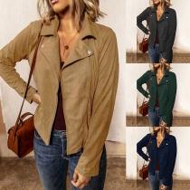 Fashion Solid Color Long Sleeve Oblique Zipper Jacket