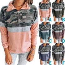 Fashion Camouflage Printed Spliced Long Sleeve Stand Collar Sweatshirt