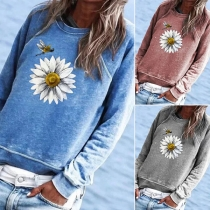 Fashion Daisy Printed Long Sleeve Round Neck Sweatshirt