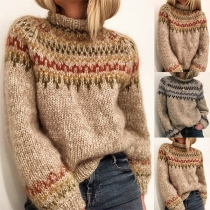 Fashion Mixed Color Long Sleeve Mock Neck Sweater