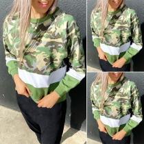 Fashion Camouflage Printed Long Sleeve Round Neck Sweatshirt