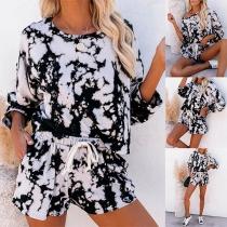 Fashion Long Sleeve Round Neck Printed T-shirt + Shorts Two-piece Set