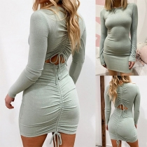 Sexy Backless Long Sleeve Round Neck Solid Color Tight Dress