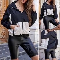 Fashion Contrast Color Long Sleeve Hooded Baseball Jacket