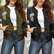 Fashion Long Sleeve Stand Collar Baseball Jacket