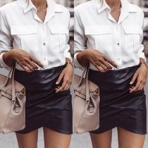 Fashion Solid Color High Waist Irregular Hem PU Leather Skirt