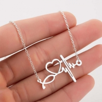Chic Style Electrocardiogram Pendant Necklace