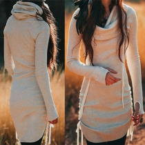 Fashion Solid Color Long Sleeve Cowl Neck Knitted Dress