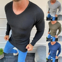 Simple Style Long Sleeve V-neck Solid Color Man's Knit Top