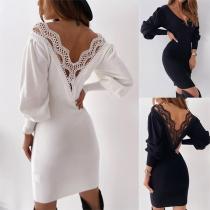 Sexy Lace Spliced Backless Long Sleeve V-neck Slim Fit Dress