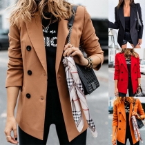 Fashion Solid Color Long Sleeve Double-breasted Blazer